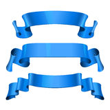 Blue Glossy vector ribbons set Royalty Free Stock Images