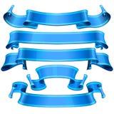 Blue Glossy vector ribbons set Stock Photo