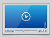 Blue glossy video player template vector illustration