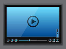 Blue glossy video player template Stock Photos