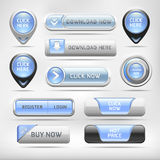 Blue Glossy Web Elements Button Set. Royalty Free Stock Images