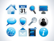 Blue glossy web icons Stock Photo
