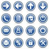 Blue glossy web icons set Stock Image