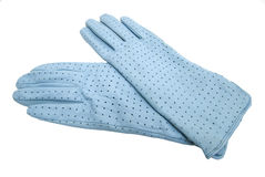 Blue gloves. Isolated on white royalty free stock photography