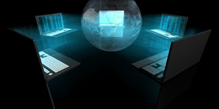 Blue Glow Laptops. A futuristic picture of a network with an hologram of Earth Stock Photo