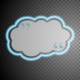 Blue glow neon cloud speech bubble Stock Images