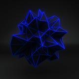 Blue glow polygonal 3D shape on black Royalty Free Stock Image