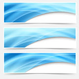 Blue glow swoosh line header footer set Royalty Free Stock Image
