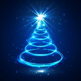 Blue glow xmas tree, neon elegant abstract christmas fir, vector illustration.  Royalty Free Stock Image