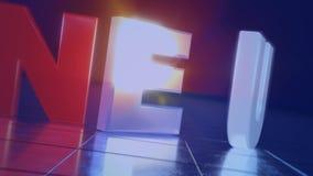 rotes Wort Neu in 3D vor blauem Hintergrund und glänzendem Boden in FullHD stock video footage