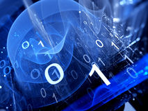 Blue glowing binary code matrix in cyberspace Royalty Free Stock Photo