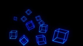 Blue Glowing Blocks Blockchain Technology Wallpaper Royalty Free Illustration