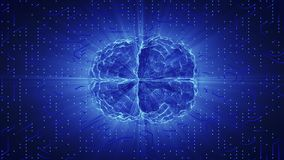 Blue glowing brain wired on neural surface or electronic conductors. Royalty Free Stock Photography