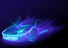 Blue Glowing Car. With Blue Flames - Abstract Illustration, Vector Stock Photo