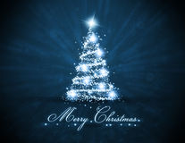Blue Glowing Christmas Tree Stock Images