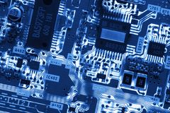 Blue Glowing Circuit Board Stock Images