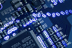 Blue glowing circuit board Royalty Free Stock Image
