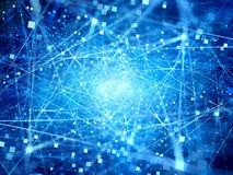Blue glowing connections in space with particles Royalty Free Stock Image