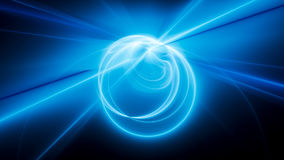 Blue glowing curves and circles in space. Computer generated abstract background, 3D rendering Stock Photos