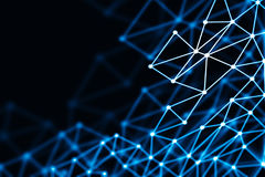 Blue glowing 3D low poly wireframe mesh - network or cyber inter. Blue glowing 3D low poly wireframe mesh on black background - network or cyber internet concept Royalty Free Stock Images