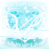 Blue glowing delicate Heart with text space Royalty Free Stock Photography