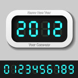 Blue glowing digital numbers - new year 2012 Stock Photo
