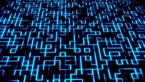 Blue Glowing Digital Wall VJ Loop Motion Background stock illustration