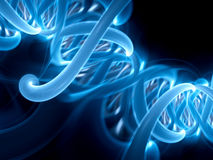 Blue glowing DNA spiral part Stock Images