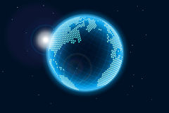 Blue glowing Earth. From space, illustration royalty free illustration