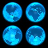 Blue glowing Earth globes. Set of four Earth globes Royalty Free Stock Image