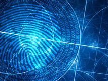 Blue glowing fibonacci circles with digital fingerprint Royalty Free Stock Photo