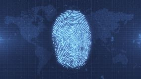 Blue glowing fingerprint electronic ID on Earth map background. Pixelated computer scan of fingerprint ID on numerical data map of the world with HUD elements Royalty Free Stock Photography