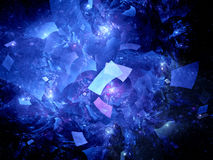 Blue glowing flying rectangles in space Royalty Free Stock Photos
