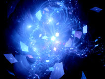Blue glowing flying squares in deep space Stock Photography