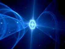 Blue glowing futuristic spaceship in space Royalty Free Stock Photos