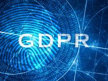Blue glowing GDPR concept withh digital fingerprint. Computer generated abstract background, 3D rendering Stock Photos