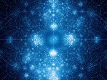 Blue glowing geometrical fibonacci shapes fractal Stock Photography