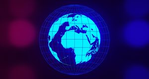 Blue Glowing Globe On Blurry Background.3D Rendering. Blue Glowing World Map On Blurry Background With Floor Reflection.3D Rendering Stock Image