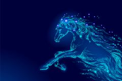 Blue glowing horse riding night sky star. Creative decoration magical backdrop shining cosmos space moon light fantasy. Background vector illustration art Royalty Free Illustration