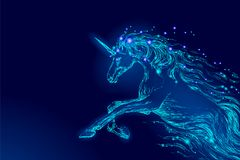 Blue glowing horse unicorn riding night sky star. Creative decoration magical backdrop shining cosmos space horn fairy. Myth moon light fantasy background royalty free illustration