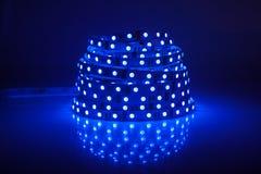 Blue glowing LED garland. Strip Royalty Free Stock Photo