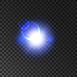 Blue glowing light flash with lens flare effect Stock Photo