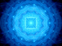 Blue glowing magical mandala in space Royalty Free Stock Photo