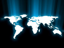 Blue glowing map Royalty Free Stock Photos