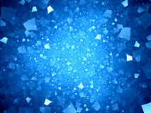 Blue glowing neon shapes in space Stock Photos
