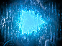 Blue glowing plasma triangle alien technology Stock Photo
