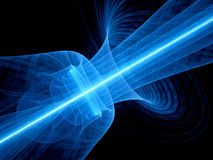 Blue glowing quantum laser in space with rippled beam. Computer generated abstract background, 3D rendering Stock Photos