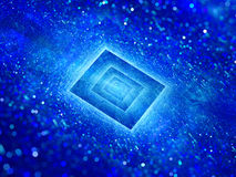 Blue glowing rectangle with particles Stock Photos