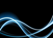 Blue glowing retro neon waves background Stock Photography