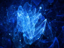 Blue glowing signal from space with particles Royalty Free Stock Image